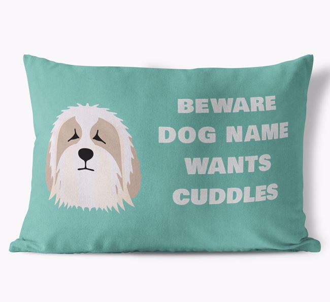 'Beware Of Cuddles' Soft Touch Pillow with Bearded Collie Icon