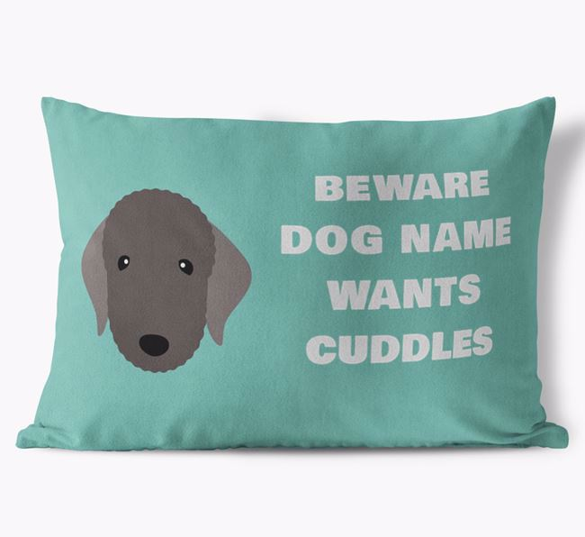 'Beware Of Cuddles' Soft Touch Pillow with Bedlington Terrier Icon