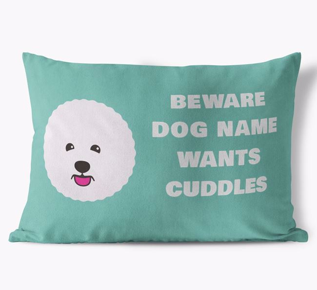'Beware Of Cuddles' Soft Touch Cushion with Bichon Frise Icon