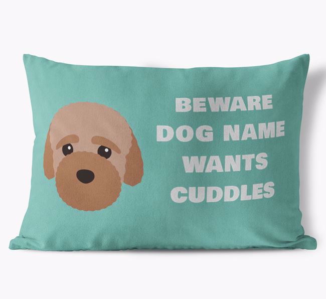 'Beware Of Cuddles' Soft Touch Pillow with Bich-poo Icon