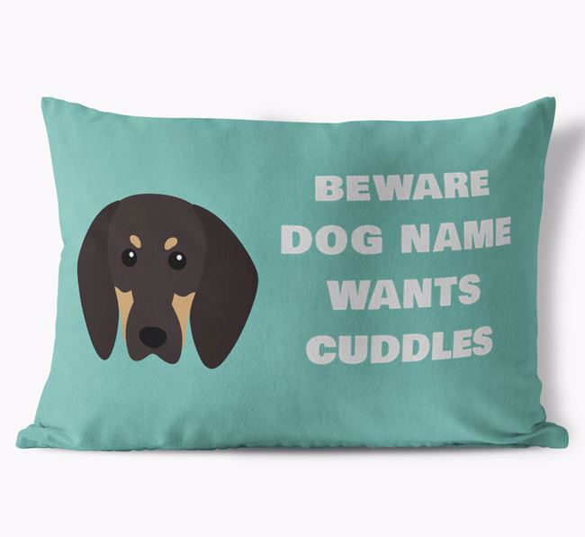 'Beware Of Cuddles' Soft Touch Cushion with Black and Tan Coonhound Icon