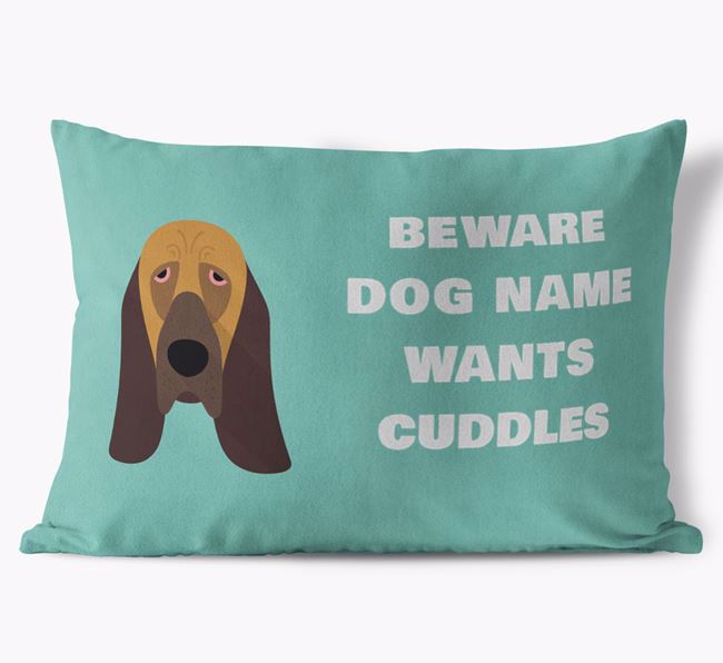 'Beware Of Cuddles' Soft Touch Pillow with Bloodhound Icon