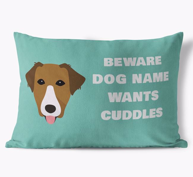'Beware Of Cuddles' Soft Touch Pillow with Borador Icon