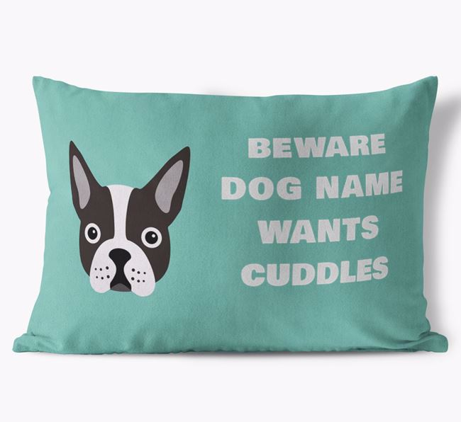 'Beware Of Cuddles' Soft Touch Cushion with Dog Icon