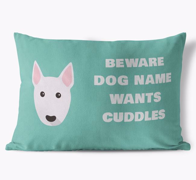 'Beware Of Cuddles' Soft Touch Pillow with Bull Terrier Icon