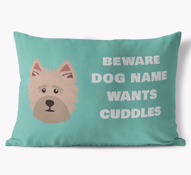 'Beware Of Cuddles' Soft Touch Pillow with Cairn Terrier Icon