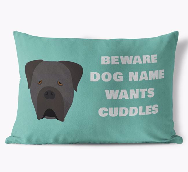 'Beware Of Cuddles' Soft Touch Pillow with Cane Corso Italiano Icon