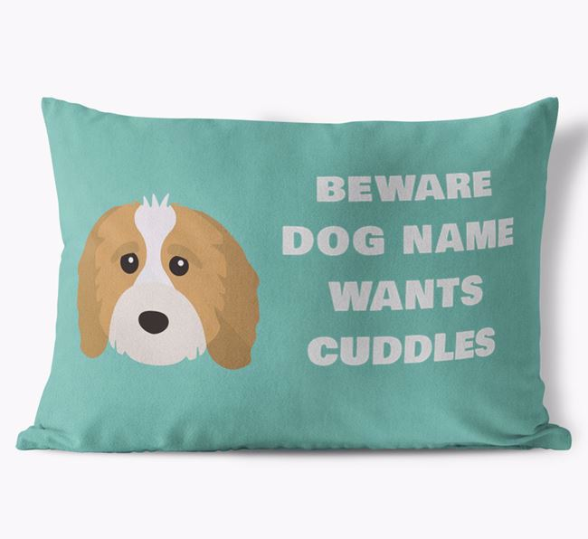 'Beware Of Cuddles' Soft Touch Pillow with Cavapoo Icon