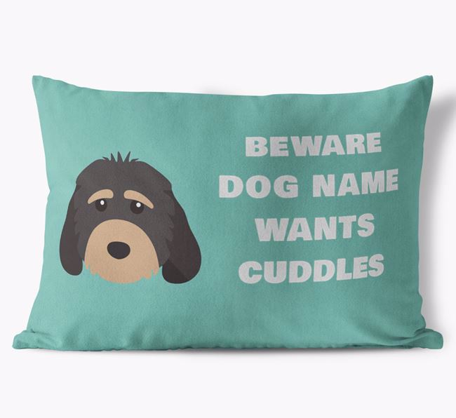 'Beware Of Cuddles' Soft Touch Pillow with Cockapoo Icon