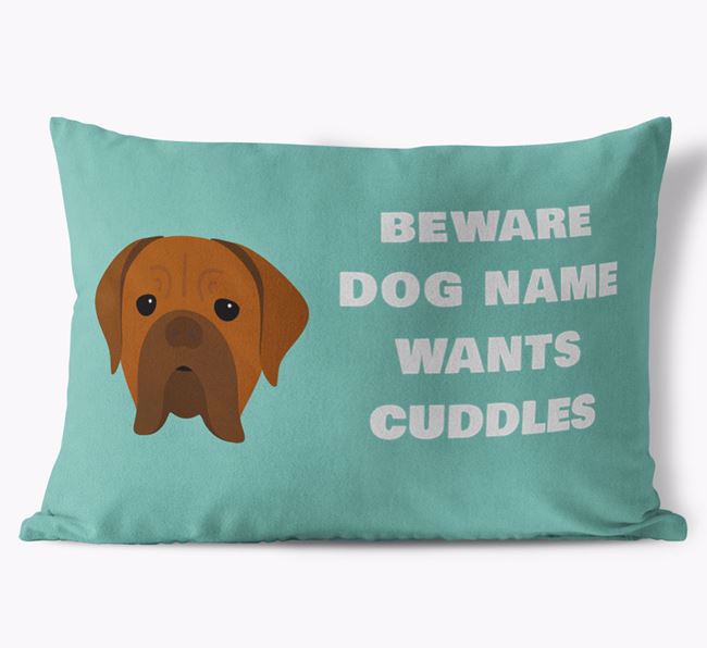 'Beware Of Cuddles' Soft Touch Pillow with Dogue de Bordeaux Icon