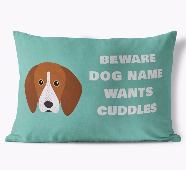 'Beware Of Cuddles' Soft Touch Pillow with English Coonhound Icon