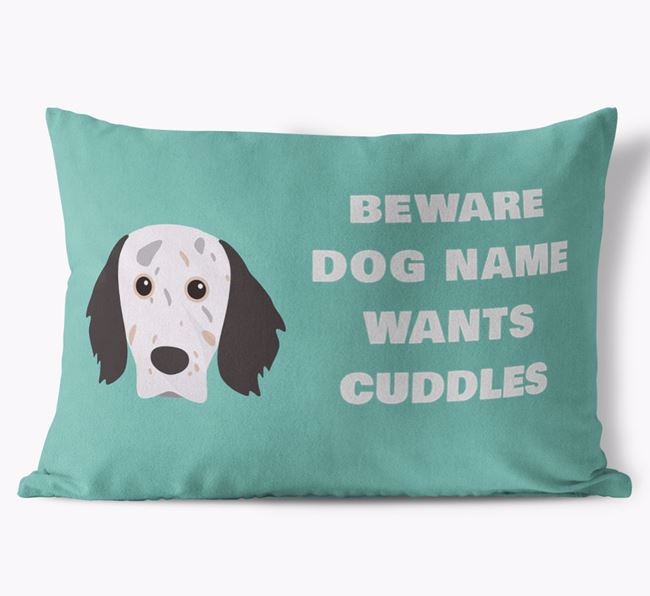'Beware Of Cuddles' Soft Touch Pillow with English Setter Icon