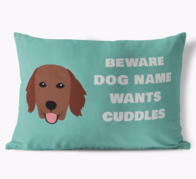 'Beware Of Cuddles' Soft Touch Pillow with Flat-Coated Retriever Icon