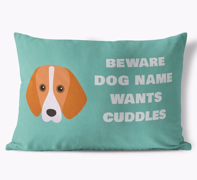 'Beware Of Cuddles' Soft Touch Cushion with Foxhound Icon