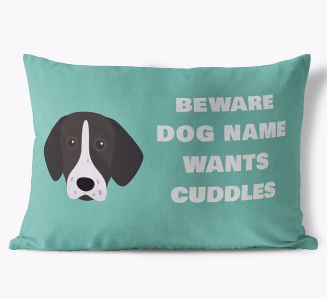 'Beware Of Cuddles' Soft Touch Pillow with German Shorthaired Pointer Icon