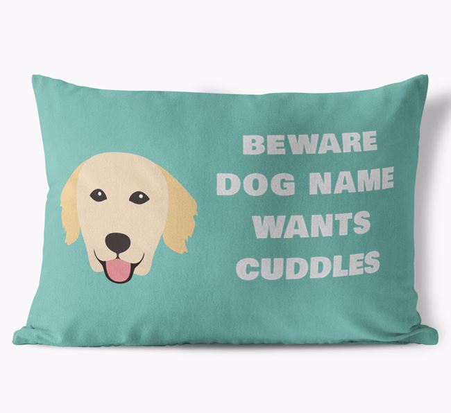 'Beware Of Cuddles' Soft Touch Pillow with Golden Retriever Icon