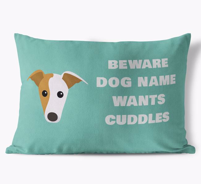 'Beware Of Cuddles' Soft Touch Pillow with Greyhound Icon