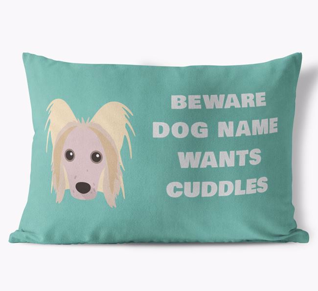 'Beware Of Cuddles' Soft Touch Cushion with Hairless Chinese Crested Icon