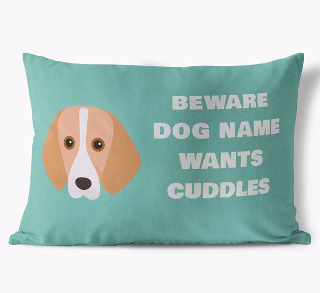 'Beware Of Cuddles' Soft Touch Pillow with Harrier Icon