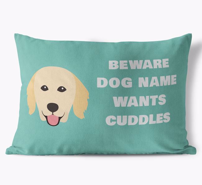 'Beware Of Cuddles' Soft Touch Pillow with Hovawart Icon