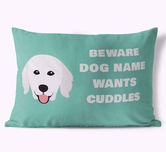 'Beware Of Cuddles' Soft Touch Pillow with Hungarian Kuvasz Icon
