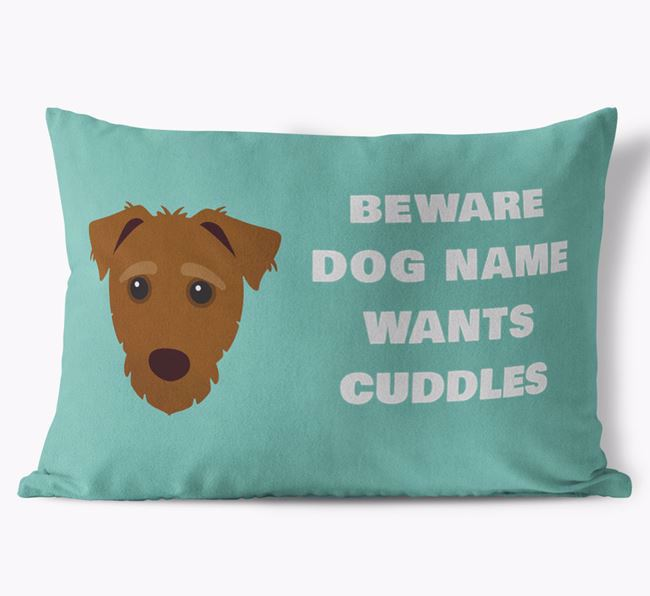 'Beware Of Cuddles' Soft Touch Cushion with Jack-A-Poo Icon
