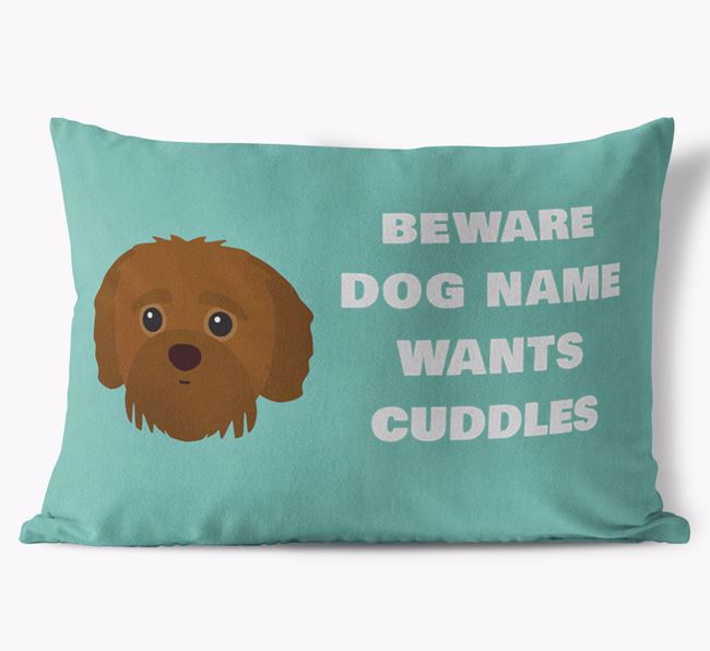 'Beware Of Cuddles' Soft Touch Pillow with Jack-A-Poo Icon