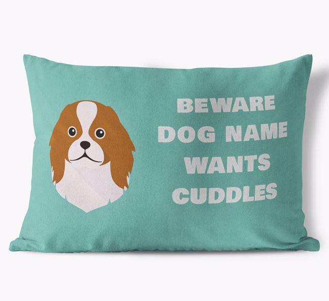 'Beware Of Cuddles' Soft Touch Pillow with Japanese Chin Icon