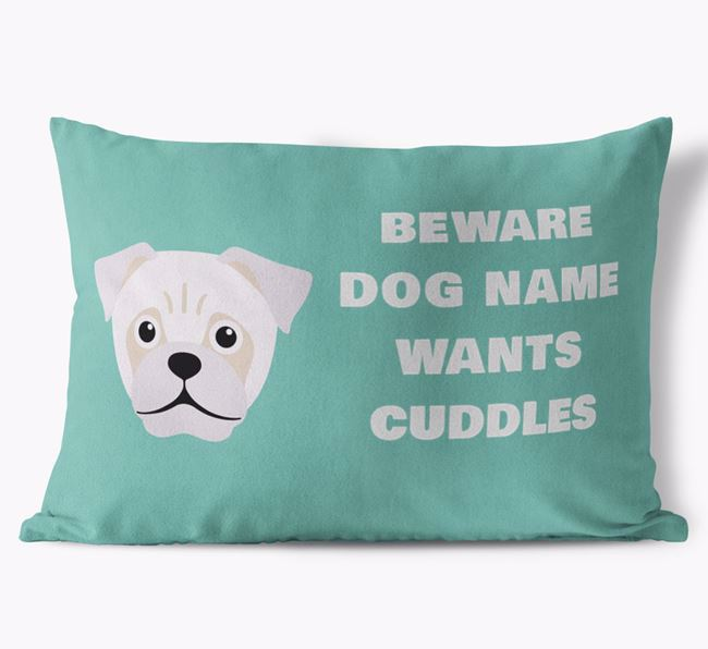 'Beware Of Cuddles' Soft Touch Pillow with Jug Icon
