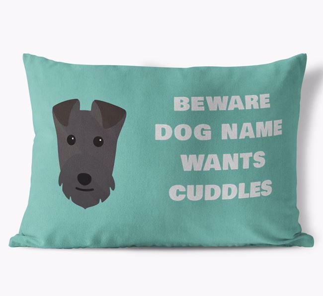 'Beware Of Cuddles' Soft Touch Pillow with Lakeland Terrier Icon