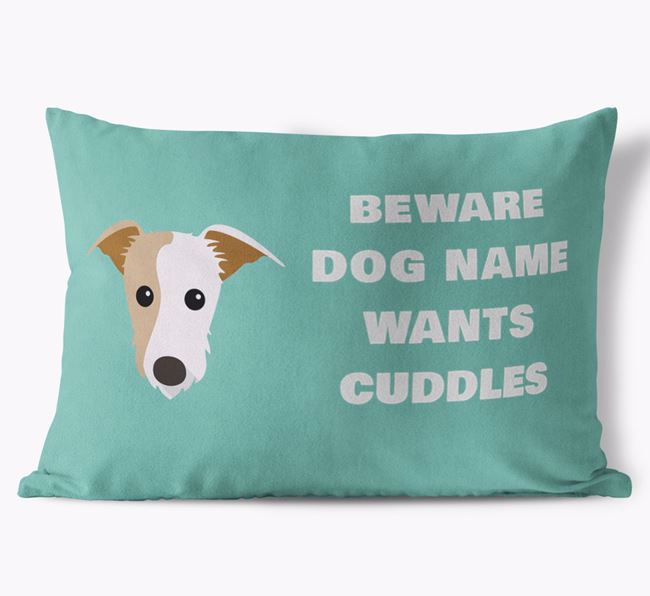 'Beware Of Cuddles' Soft Touch Pillow with Lurcher Icon