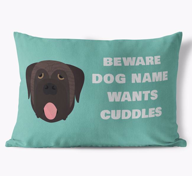'Beware Of Cuddles' Soft Touch Pillow with Mastiff Icon