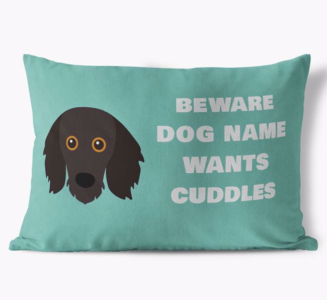 'Beware Of Cuddles' Soft Touch Pillow with Mixed Breed Icon