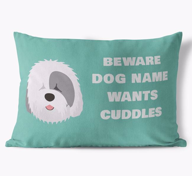 'Beware Of Cuddles' Soft Touch Pillow with Old English Sheepdog Icon