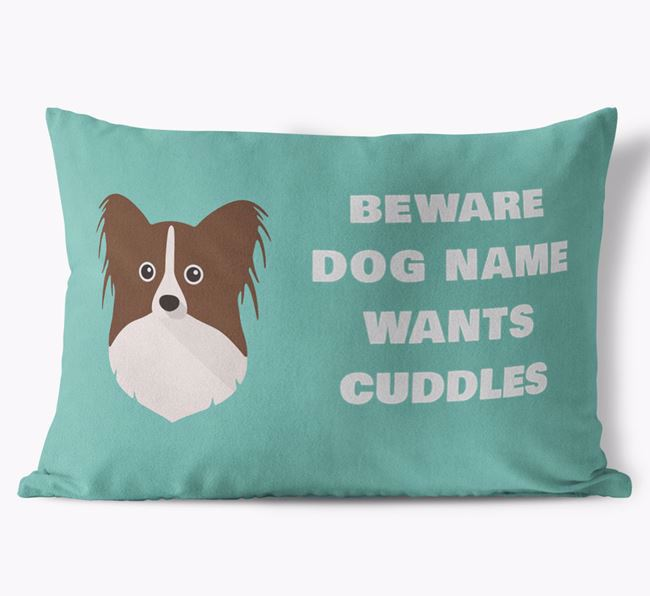 'Beware Of Cuddles' Soft Touch Pillow with Papillon Icon