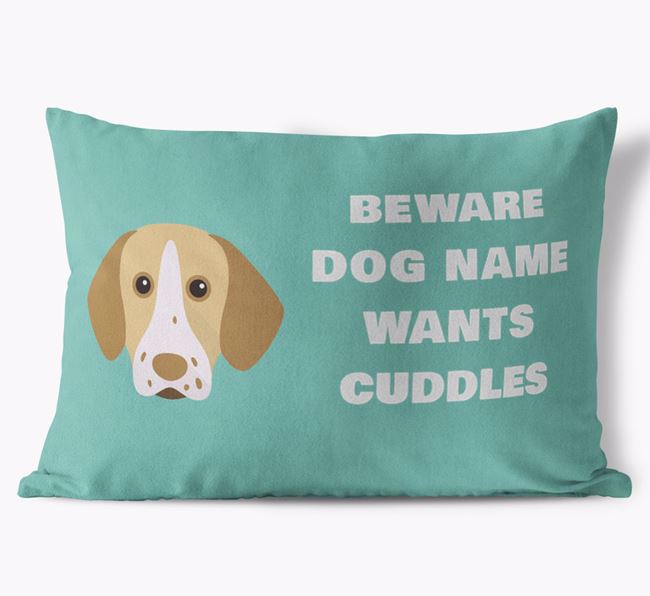 'Beware Of Cuddles' Soft Touch Pillow with Pointer Icon