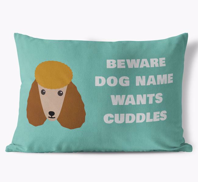 'Beware Of Cuddles' Soft Touch Cushion with Poodle Icon