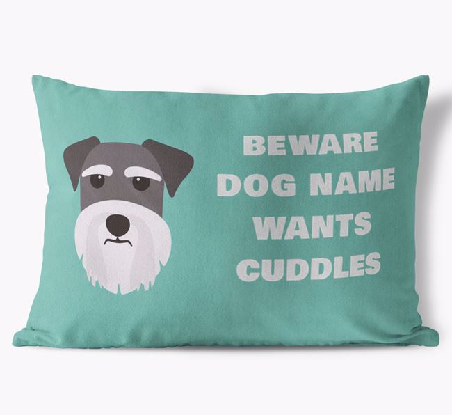 'Beware Of Cuddles' Soft Touch Pillow with Dog Icon