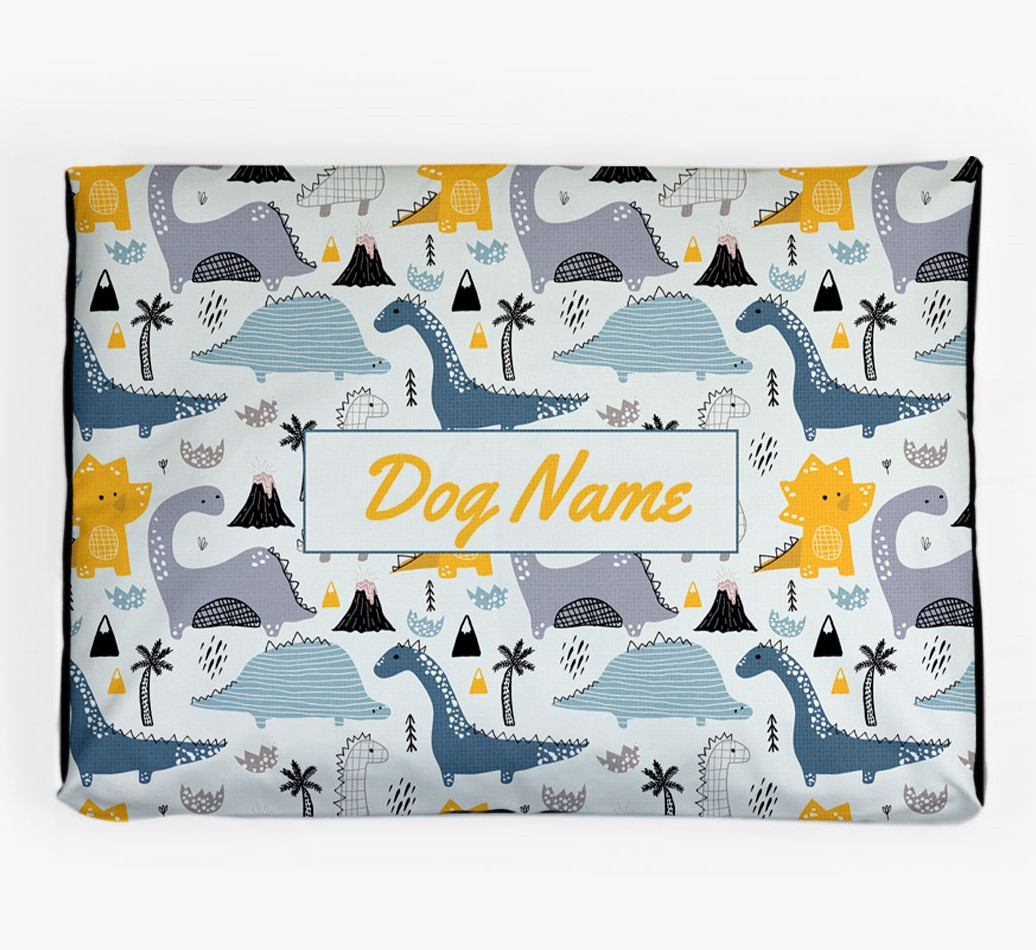 Personalised 'Dinosaur Pattern' Dog Bed for your Bedlington Terrier