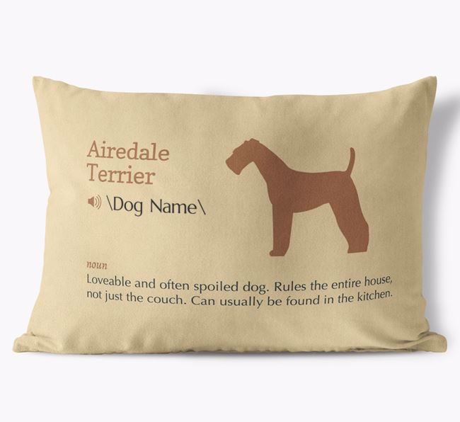 Personalized Airedale Terrier Definition Faux Suede Pillow