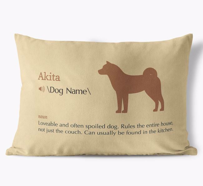 Personalized Akita Definition Faux Suede Pillow