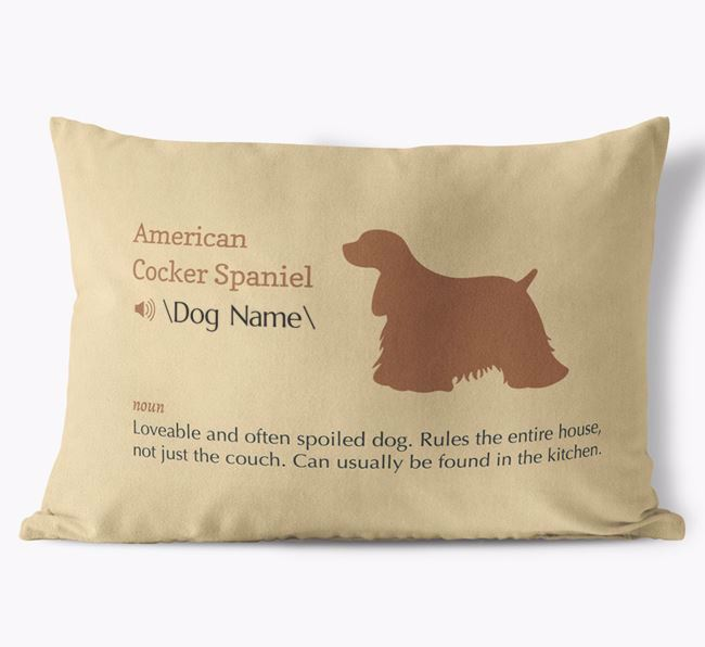 Personalized American Cocker Spaniel Definition Faux Suede Pillow