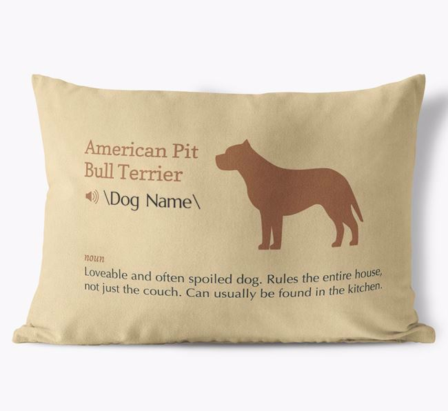 Personalized American Pit Bull Terrier Definition Faux Suede Pillow