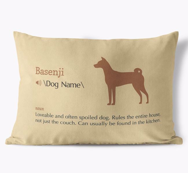 Personalized Basenji Definition Faux Suede Pillow