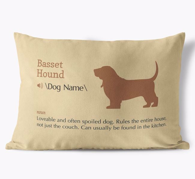 Personalized Basset Hound Definition Faux Suede Pillow