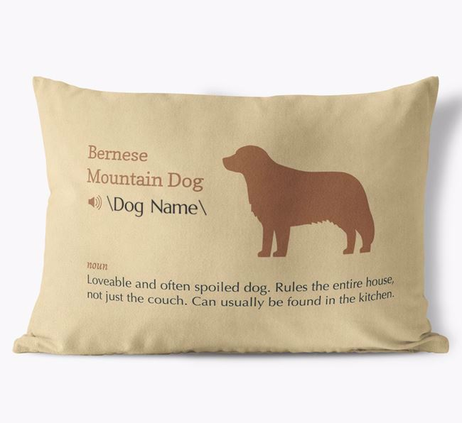 Personalized Bernese Mountain Dog Definition Faux Suede Pillow