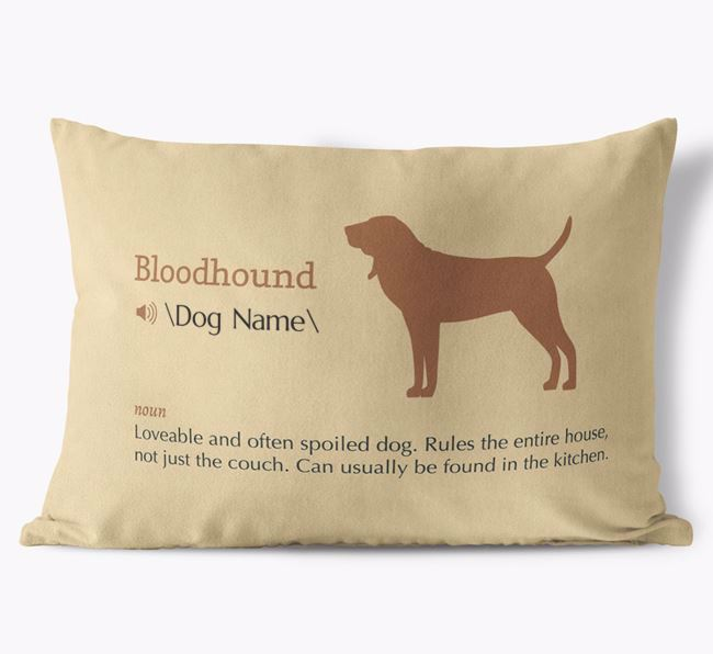 Personalized Bloodhound Definition Faux Suede Pillow