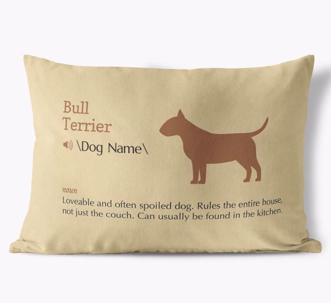 Personalized Bull Terrier Definition Faux Suede Pillow