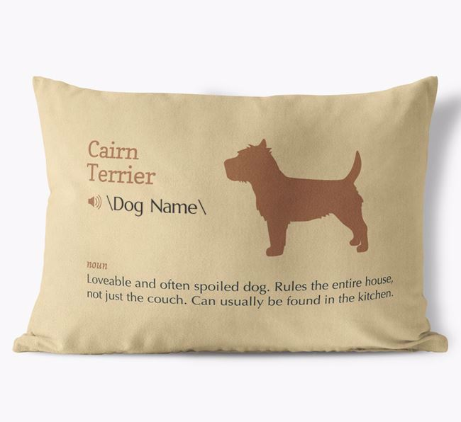Personalized Cairn Terrier Definition Faux Suede Pillow