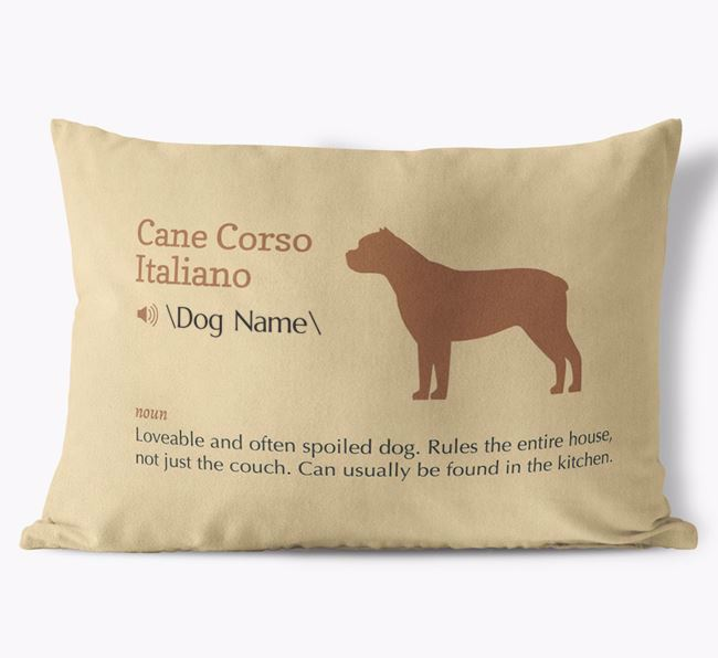 Personalized Cane Corso Italiano Definition Faux Suede Pillow
